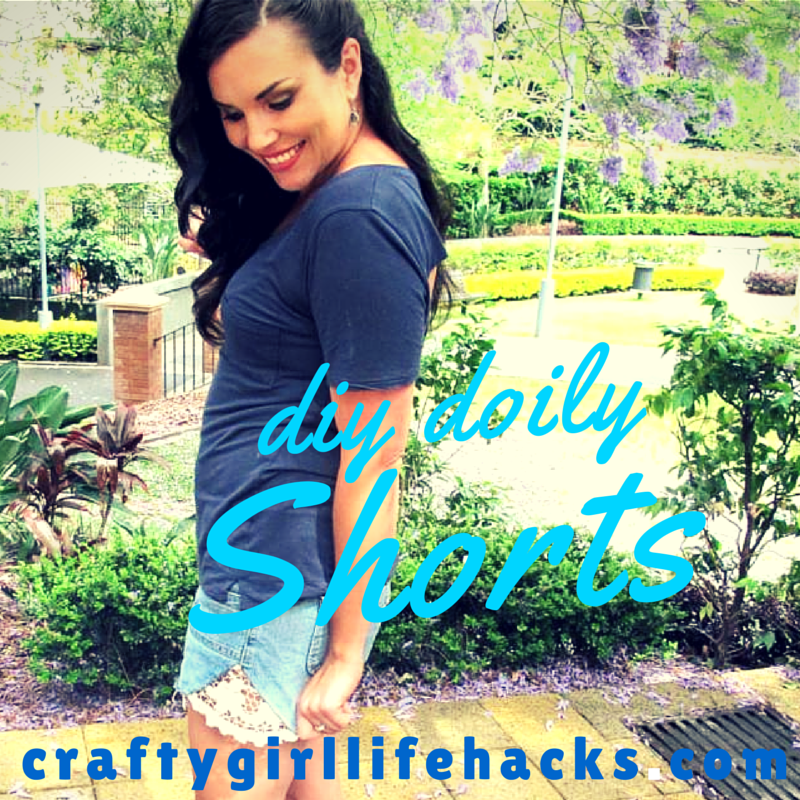 DIY doily shorts